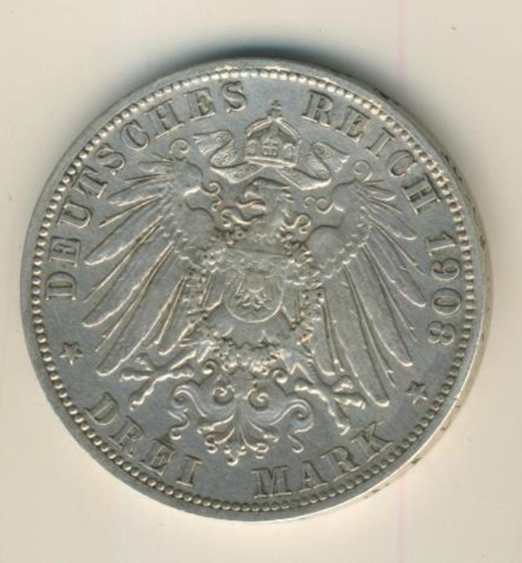 3 Mark 1908,A, Preussen,Deutsches Reich Kaiserreich,Silber (23) 0