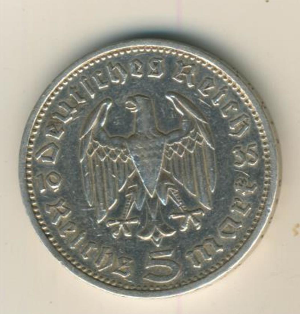 Deutsches Reich 1936,5 Reichsmark, Hindenburg,Silber (27) 0