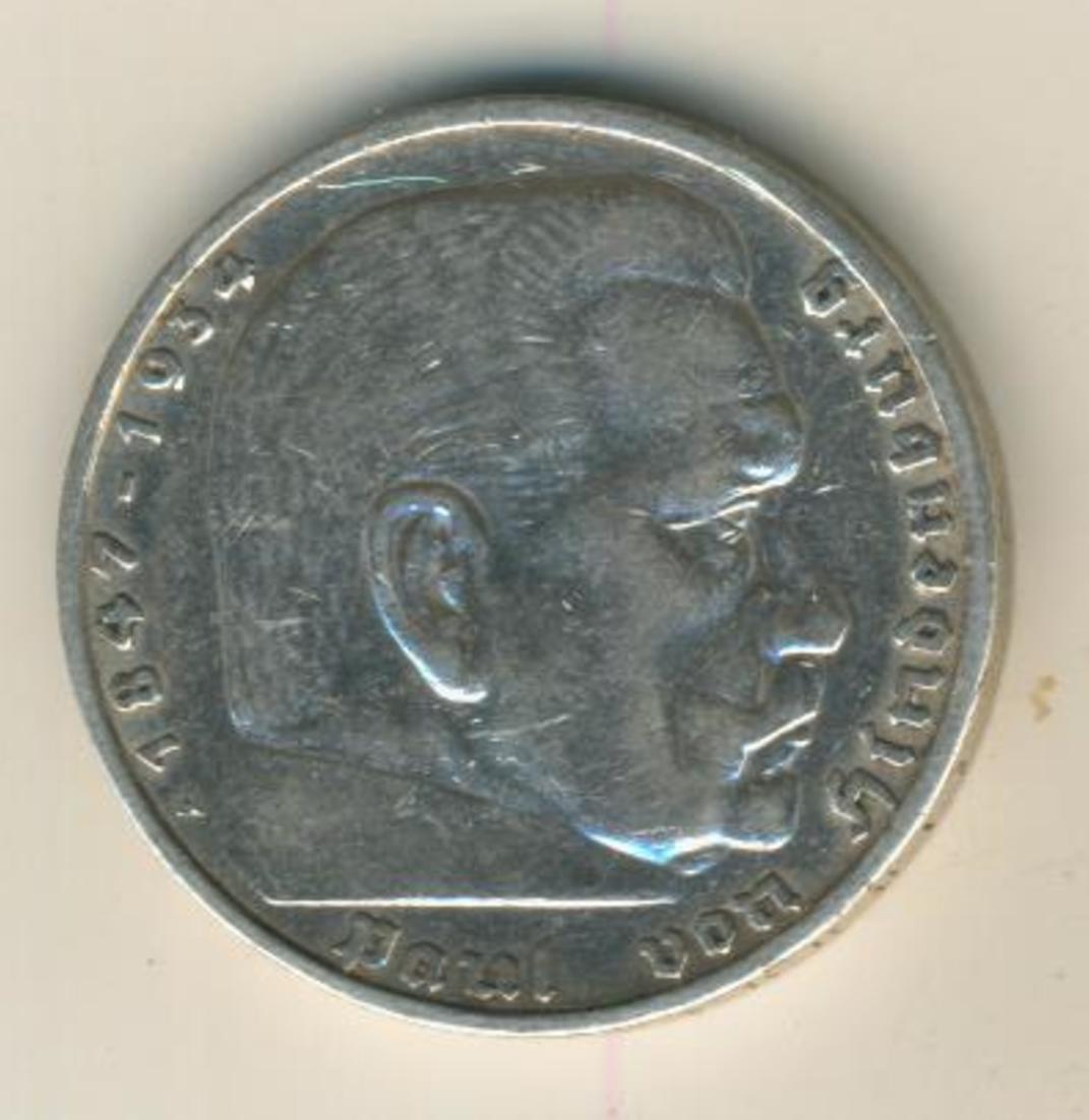 Deutsches Reich 1936,5 Reichsmark, Hindenburg,Silber (27) 1