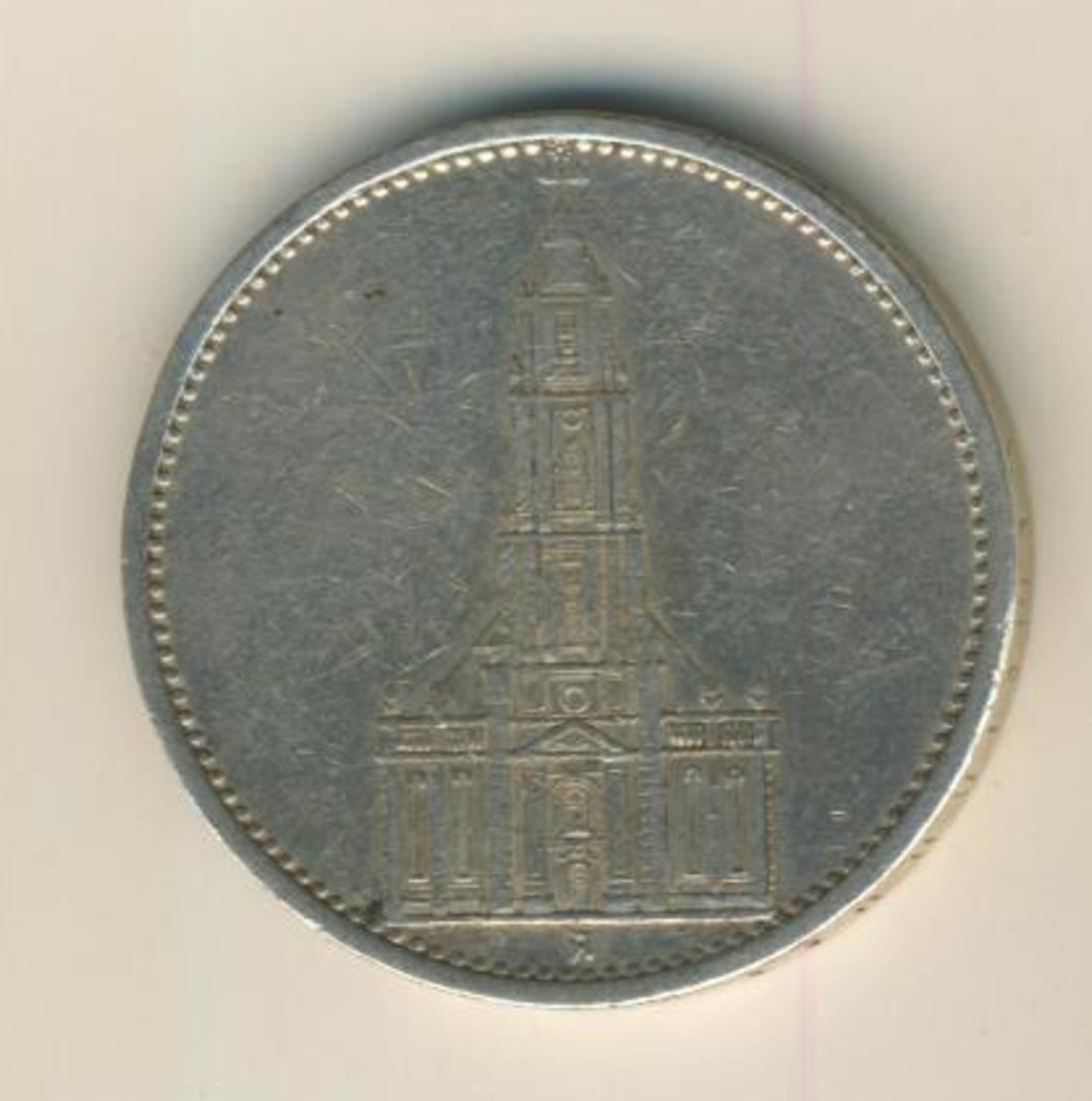 5 Reichsmark 1935,A, Garnisonskirche ,Silber 900/1000  (30) 1