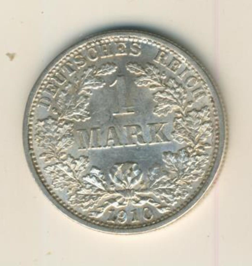 1 Mark 1910,F, KAISERREICH, Silber (35) 0