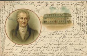 Johann Wolfgang von Goethe mit Wohnhaus v. 1898  (57069)