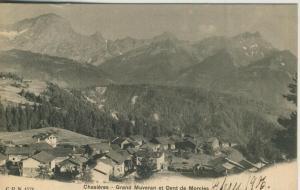 Chesieres v. 1906  Grand Muveran et Dent de Morcies -- Dorfansicht  (57434)