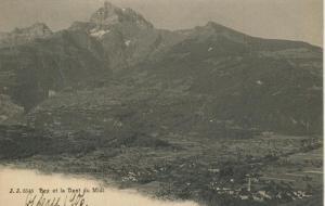 La Dent du Midi v. 1906  Dorfansicht und Gebirge  (57438)