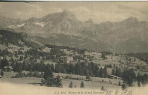 Villars sur Ollon v. 1906  Dorfansicht und Grand Muveran  (57444)