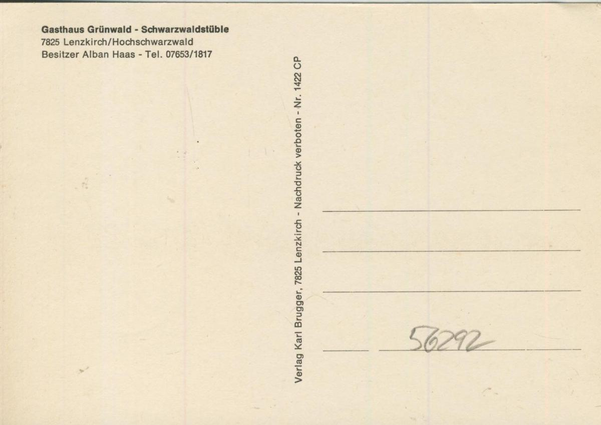 Lenzkirch v. 1968  Gasthaus Grünwald, Bes. Alban Haas (56292) 1