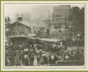 Burbach = Saarbrücken v. 1893  Straßenbahnunfall am Bahnhof Burbach   (57500)