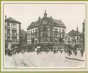 Saarbrücken v. 1912  Partie an der Johanniskirche mit Zigarren-Geschäft, Geschäft von Karl Meißner,Drogerie   (57501)