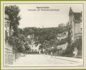 Saarbrücken v. 1908  Talstrasse mit Winterberg-Denkmal   (57502)