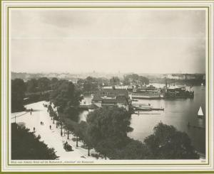 Hamburg v. 1909  Blick vom Atlantic Hotel auf die Badeanstallt
