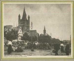 Bremen v. 1910  Hafengasse mit Blick auf Stapelhaus und Groß St. Martin - Kartoffelverkauf  (57565)