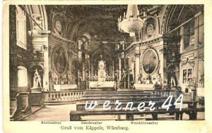 Gruss vom Käppeln / Würzburg v. 1928  Hochaltar,Gnadenaltar,Wendelsteinaltar -- siehe Foto!!  (32807)