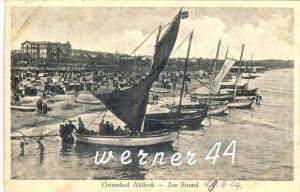 Ostsseebad Ahlbeck v. 1929 Am Strand mit  Hotel & Fischerboote,Seerose,Deutschland,Papagei -- siehe Foto !!  (32852)