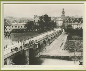 Saarbrücken v. 1922  Partie an der Saar mit der alten Brücke  (57599-23)
