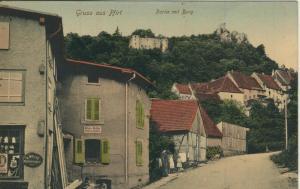 Gruss aus der Grafschaft Pfirt v. 1915  Strassensicht mit Klemperei Alfons Müller  (57698)
