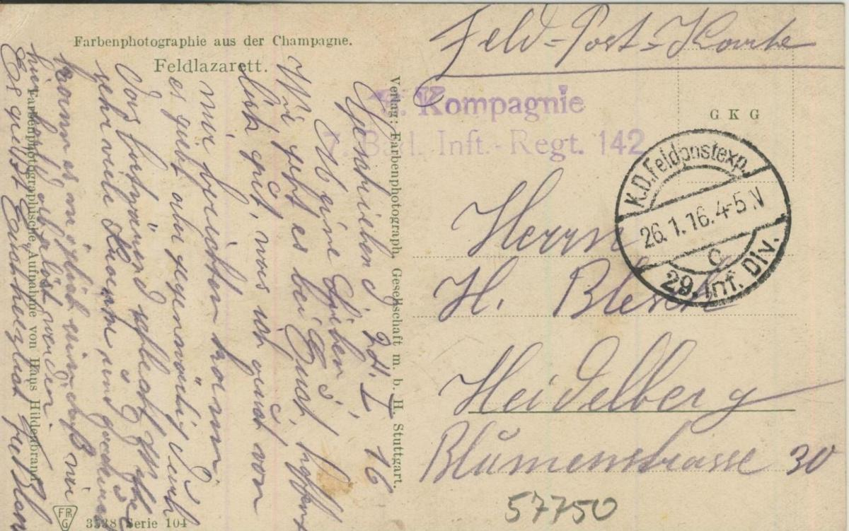 Campagne v. 1916  Feldlazarett  (57750) 1