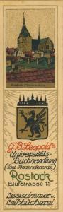 Rostock ca. von 1934  G.B.Leopold`s Universitäts-Buchhandlung,Blutstrasse 15 -- Lesezeichen  (58217)
