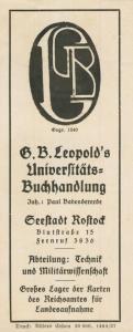 Rostock ca. von 1937  G.B.Leopold`s Universitäts-Buchhandlung,Blutstrasse 15 -- Lesezeichen-Militärwissenschaft  (58218)