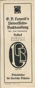 Rostock ca. von 1937  G.B.Leopold`s Universitäts-Buchhandlung,Blutstrasse 15 -- Lesezeichen-Schulbücher  (58218)