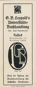 Rostock ca. von 1937  G.B.Leopold`s Universitäts-Buchhandlung,Blutstrasse 15 -- Lesezeichen-Buchh. der Studenten (58220)