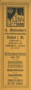 Rostock ca. von 1937  H. Markenten`s Universitätsbuchhandlung,Hopfenmarkt  19, -- Lesezeichen  (58221)
