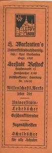 Rostock ca. von 1937  H. Markenten`s Universitätsbuchhandlung,Hopfenmarkt  19, -- Lesezeichen  (58222)