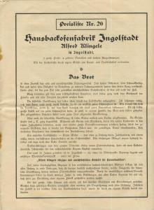 Ingolstadt v. 1928  Alfred Klingele - Hausbackofenfabrik  (51451)