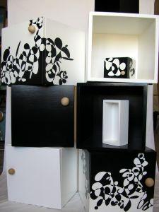 6 Würfel aus Holz, handbemalt Holzwürfel 40x40x40cm + 3 Einläger