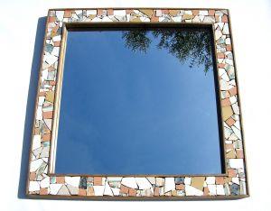 Spiegel in Holz und Mosaik, 44x44cm