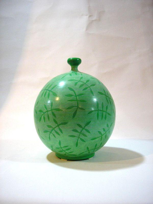 Keramik-Vase von Hand verziert, 18cm