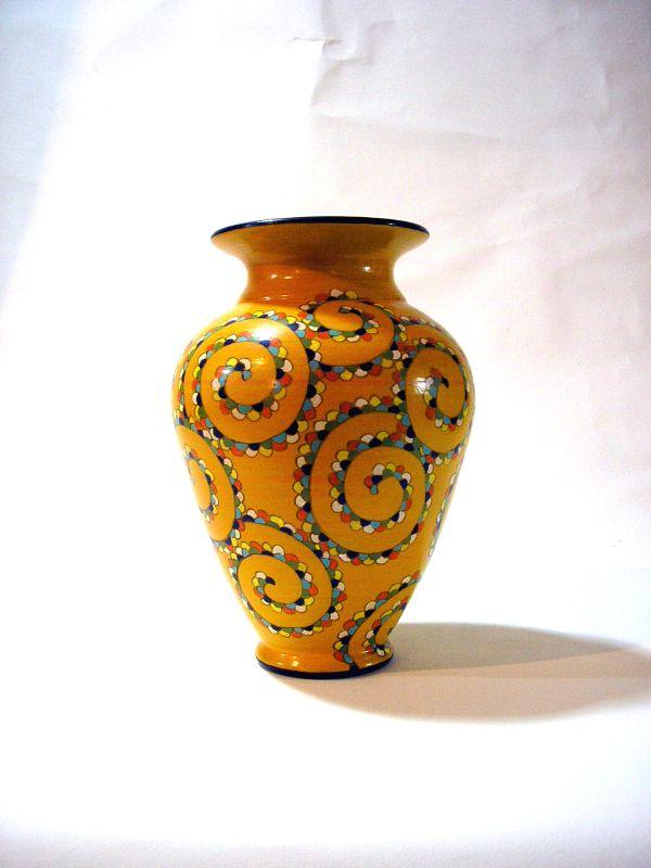 Keramik-Vase von Hand verziert, 21cm