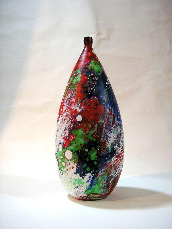Keramik-Vase von Hand verziert, 30cm