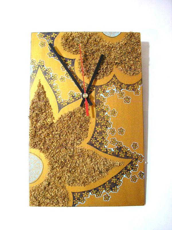 Uhr von Hand verziert, MDF-Platte, 18x25cm