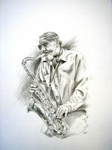 Sonny Rollins, Bleistift auf Papier, 22x33cm