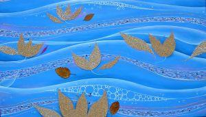 Tryptichon, Acryl auf Leinwand mit Anwendungen aus Sand und Blättern, (3x)