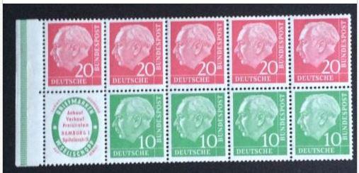 Bund postfrisch Mi. Nr. 3 Heftchenblatt Heuss