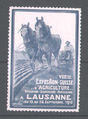 Präge-Reklamemarke VIII. Exposition Suisse d\'Agriculture a Lausanne 1910, Bauer mit Pferdepflug, blau