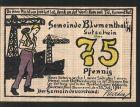 Notgeld Blumenthal (Hannover), 1921, 75 Pfennig, Werftarbeiter mit Schiffswerft, Grau mit Spindel