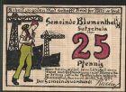 Notgeld Blumenthal (Hannover), 1921, 25 Pfennig, Werftarbeiter mit Schiffswerft, Grau mit Spindel