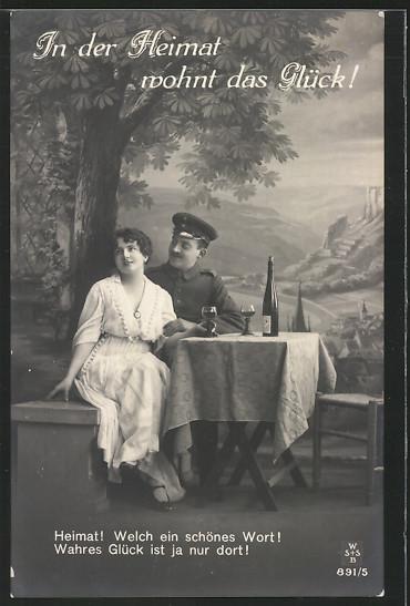 Ak In Der Heimat Wohnt Das Glück Ein Glas Wein Mit Dem Soldaten Nr