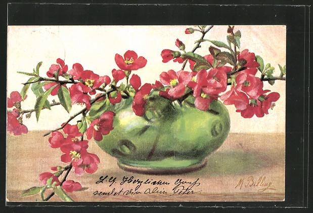 Künstler-AK M.Billing: Rote Blumen in einer grünen Vase  0