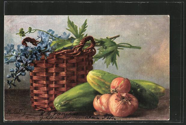 Künstler-AK M.Billing: Zwiebeln, Gurken & Blumen in einem Korb  0
