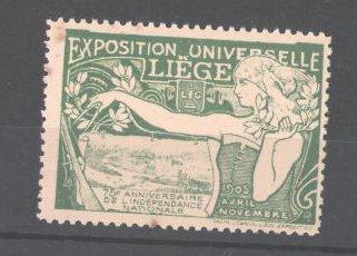 Reklamemarke Exposition Universelle Liege 1905, Bäuerin, Stadtmotiv, Wappen, grün 0