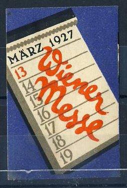 Reklamemarke Wiener Messe 1927, Kalender 0