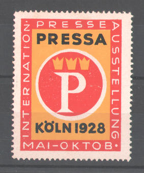 Reklamemarke Internationale Presse-Ausstellung Köln 1928, Messelogo 0