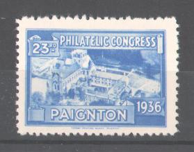 Reklamemarke 23rd Philatelic Congress Paignton 1936, Stadtmotiv, blau