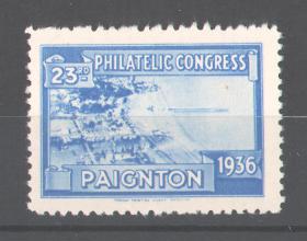 Reklamemarke 23rd Philatelic Congress Paignton 1936, Blick auf das Strandleben 0