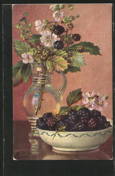 Künstler-AK M.Billing: Blumenvase und Brombeerschale 0