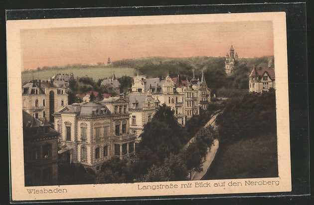 AK Wiesbaden, Die Langstrasse mit Blick auf den Neroberg 0