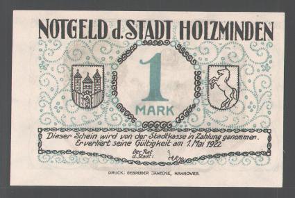 Notgeld Holzminden 1922, 1 Mark, Stadtwappen, Holzmindener Schützenkönig 0